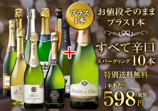 特別送料無料】【ストッパー付】金賞&高評価&シャンパン製法入り!世界辛口スパークリング10本