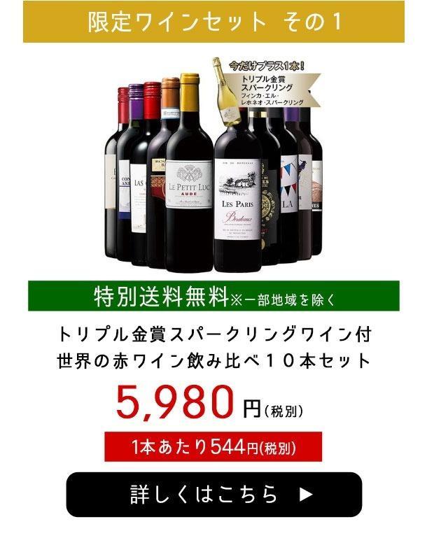 トリプル金賞スパークリングワイン付世界の赤ワイン飲み比べ10本セット