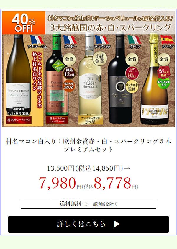 【40%OFF】村名マコン白入り!欧州金賞赤・白・スパークリング5本プレミアムセット
