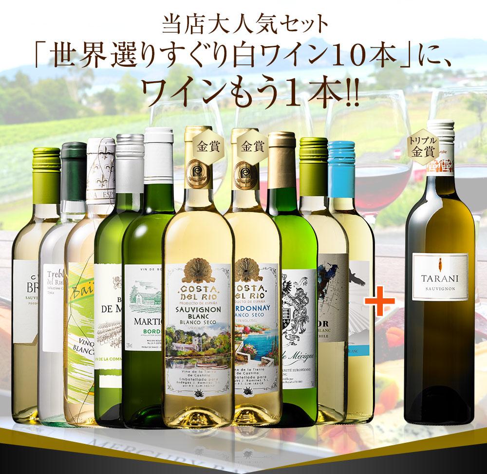 当店大人気セット  「世界選りすぐり白ワイン10本」に、  ワインもう1本!!