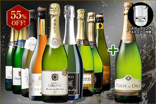 【特別送料無料】【ストッパー付】金賞&高評価&シャンパン製法入り!世界辛口スパークリング10本14弾