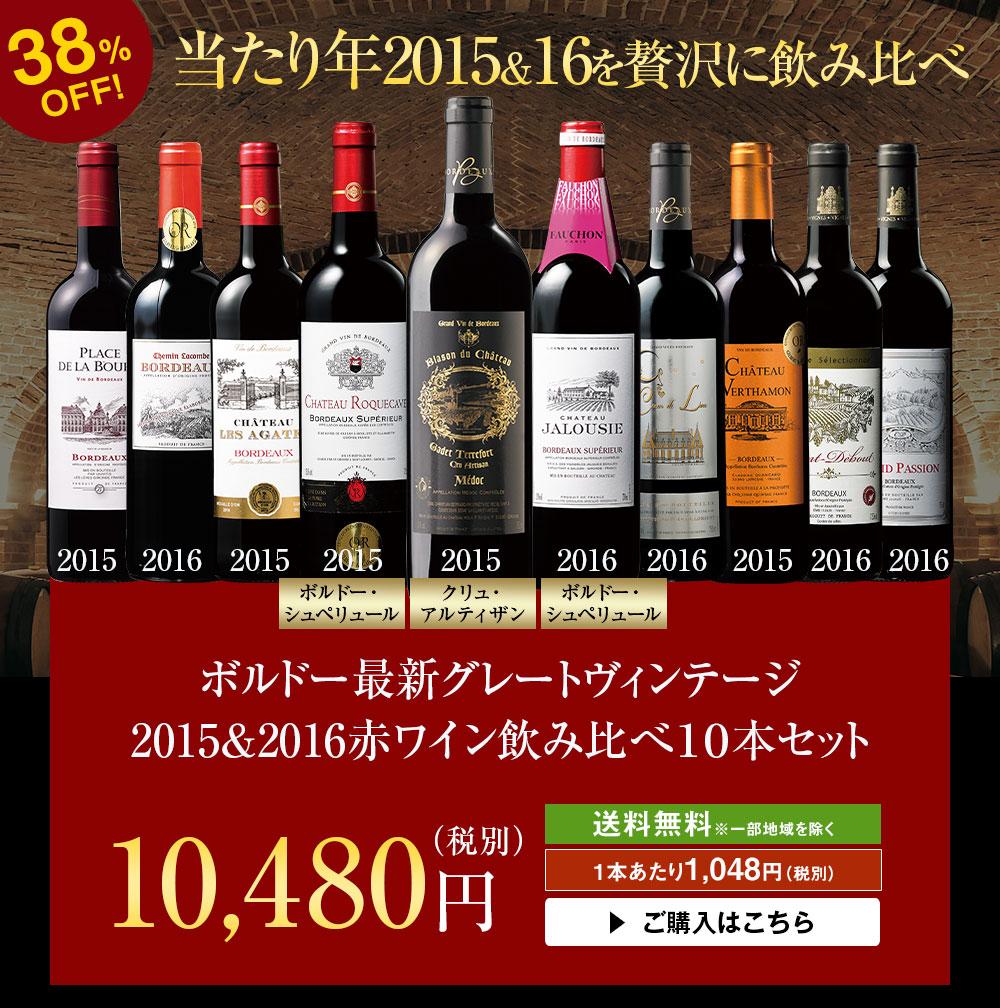 ボルドー最新グレートヴィンテージ2015&2016赤ワイン飲み比べ10本セット