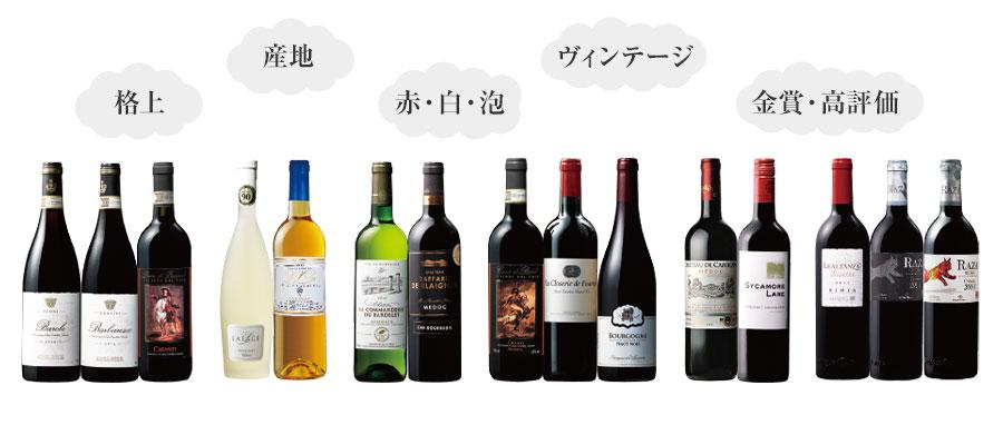 格上・産地・赤・白・泡・ビンテージ・金賞・高評価のワイン