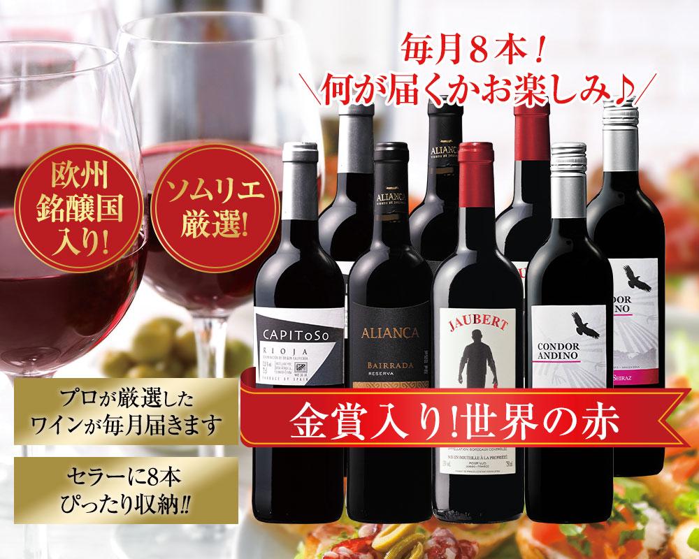 毎月8本!何が届くかお楽しみ♪金賞入り!世界の赤ワイン