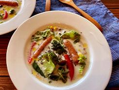 白ワインと野菜たっぷりの豆乳クリーミースープ