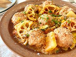 根菜と共に煮込んだアルボンディガス(スペイン風ミートボール)