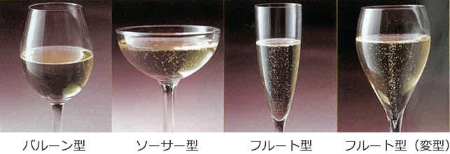 グラスの種類バルーン型、ソーサー型、フルート型、フルート型(変型)