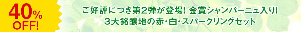 ご好評につき第2弾が登場!金賞シャンパーニュ入り! 3大銘醸地の赤・白・スパークリングセット