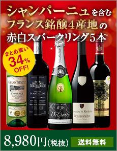 【34%OFF】シャンパーニュ&ブルゴーニュ入り!フランス銘醸地赤白スパークリング5本セット