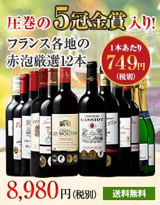 【57%OFF】5冠金賞ボルドー&辛口スパークリング2本入り!フランス各地最強級赤泡ワイン12本セット