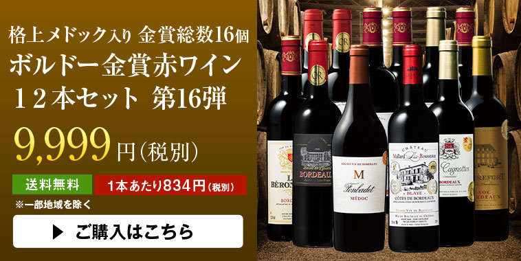 格上メドック入り金賞総数16個 ボルドー金賞赤ワイン12本セット第16弾