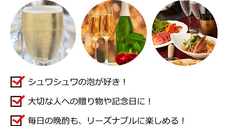 シュワシュワの泡が好き!/大切な人への贈り物や記念日に!/毎日の晩酌も、リーズナブルに楽しめる!