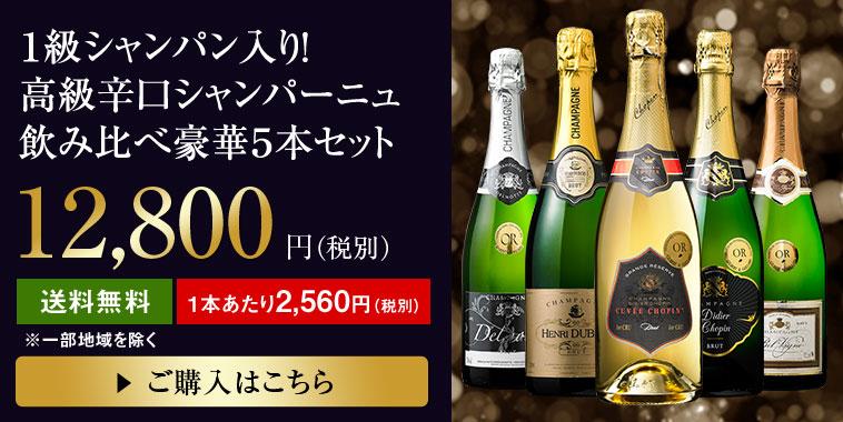 【49%OFF】1級シャンパン入り!高級辛口シャンパーニュ飲み比べ豪華5本セット