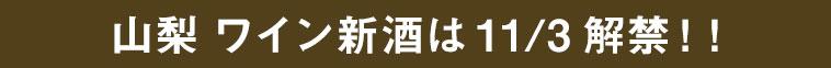 山梨ワイン新酒は11/3解禁!!