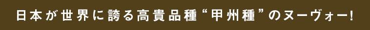 """日本が世界に誇る高貴品種""""甲州種""""のヌーヴォー!"""
