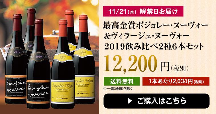 【最高金賞】ボジョレー・ヌーヴォー&ヴィラージュ・ヌーヴォー2019飲み比べ2種6本セット
