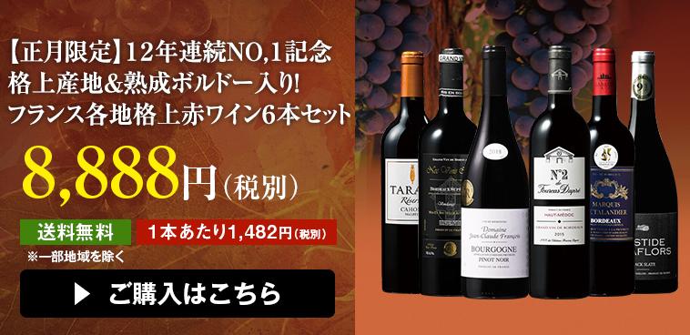【正月限定】12年連続No.1記念 格上産地&熟成ボルドー入り!フランス各地格上赤ワイン6本セット