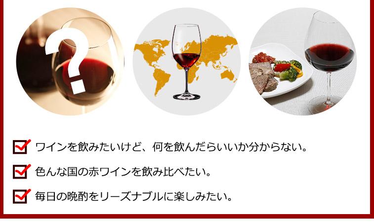 ワインを飲みたいけど、何を飲んだらいいか分からない。色んな国の赤ワインを飲み比べたい。毎日の晩酌をリーズナブルに楽しみたい。