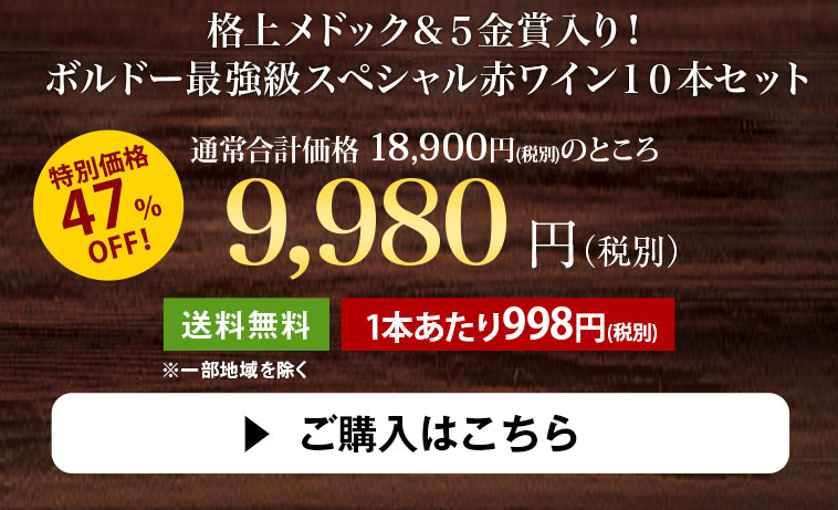 格上メドック&5金賞入り!ボルドー最強級スペシャル赤ワイン10本セット