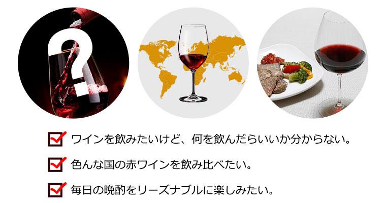 ワインを飲みたいけど、何を飲んだらいいか分からない。/色んな国の赤ワインを飲み比べたい。/毎日の晩酌をリーズナブルに楽しみたい。