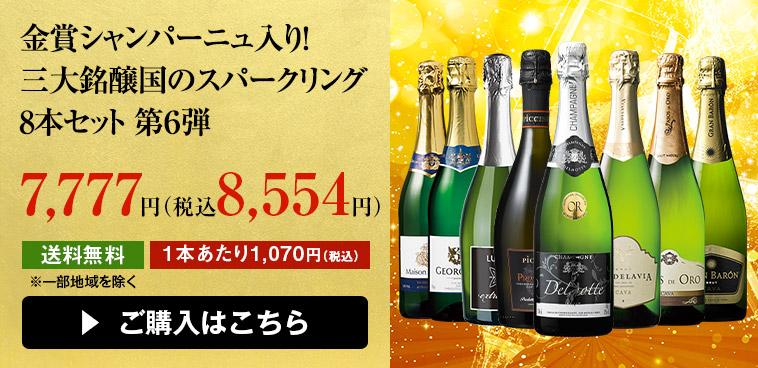 金賞シャンパーニュ入り! 三大銘醸国のスパークリング8本セット 第6弾