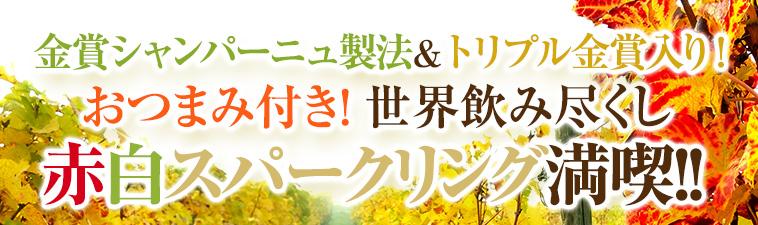 金賞シャンパーニュ製法&トリプル金賞入り!おつまみ付き!世界飲み尽くし赤白スパークリング満喫!!