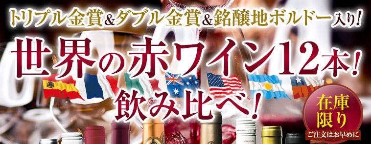 トリプル金賞&ダブル金賞&銘醸地ボルドー入り!世界の赤ワイン12本!飲み比べ!