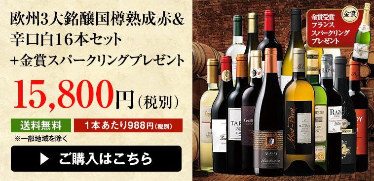 【47%OFF】欧州3大銘醸国樽熟成赤&辛口白16本セット+スパークリングワイン1本