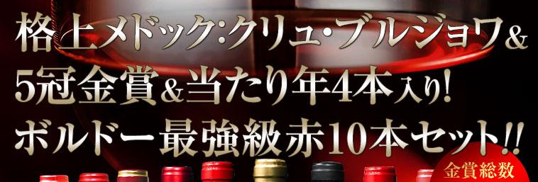 格上メドック:クリュ・ブルジョワ&5冠金賞&当たり年4本入り!ボルドー最強級赤10本セット!!