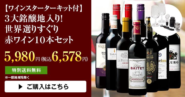 【ワインスターターキット付】3大銘醸地入り! 世界選りすぐり赤ワイン10本セット