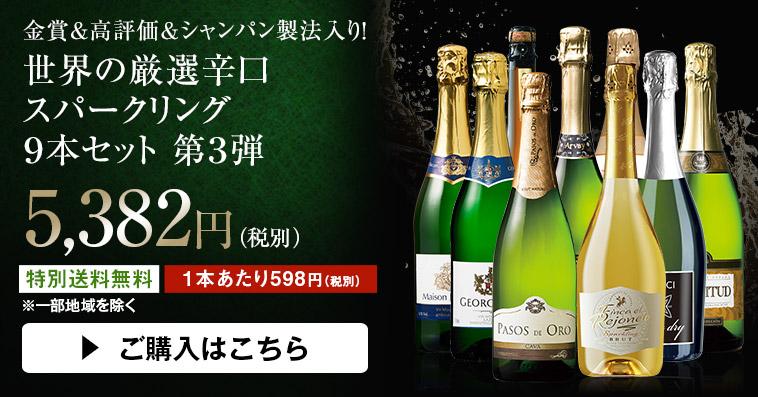 【特別送料無料】【ストッパー付】金賞&高評価&シャンパン製法入り!世界の辛口スパークリング9本セット