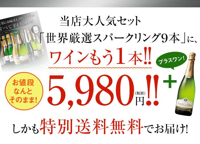 当店大人気セット「世界厳選スパークリング9本」に、ワインもう1本!!お値段なんとそのまま!5,980円(税別)しかも特別送料無料でお届け!