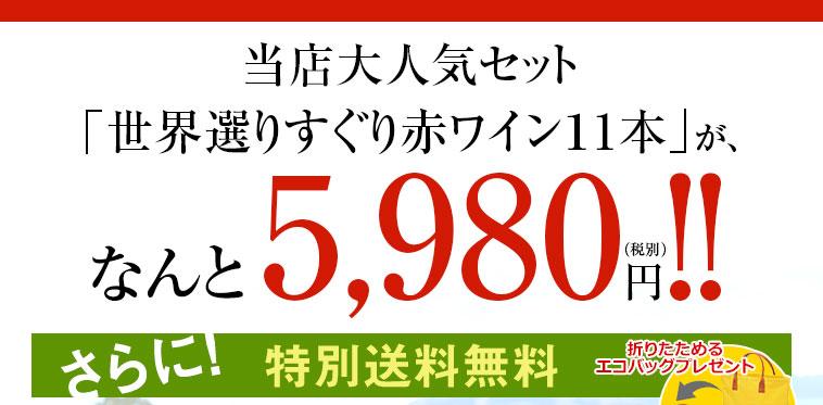 当店大人気セット「世界選りすぐり赤ワイン11本」が、なんと5,980円(税別)!!