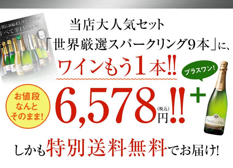 当店大人気セット「世界厳選スパークリング9本」に、ワインもう1本!!お値段なんとそのまま!6,578円(税込)しかも特別送料無料でお届け!