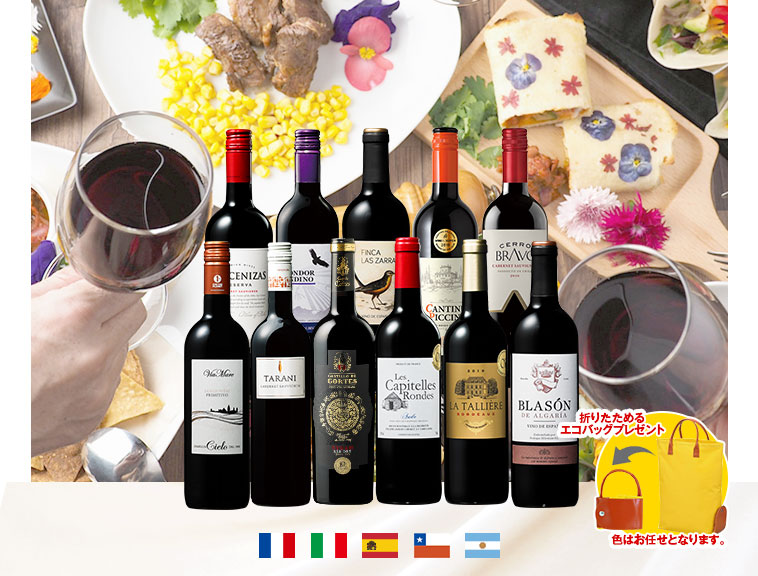 【特別送料無料】3大銘醸地入り!世界選りすぐり赤ワイン11本セット
