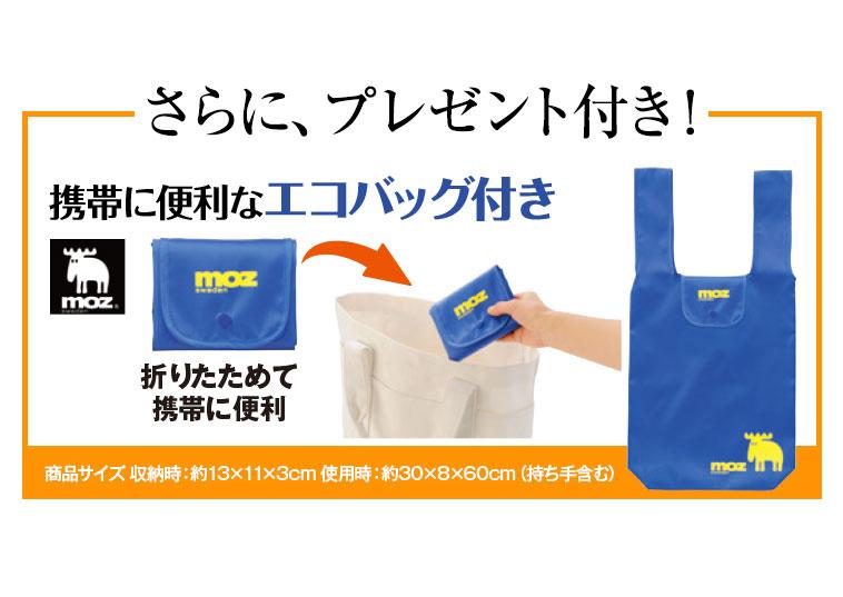 さらに、プレゼント付き!携帯に便利なエコバッグ付き/折りたためて携帯に便利/商品サイズ収納時:約13×11×3センチ 使用時:約30×8×60センチ(持ち手含む)