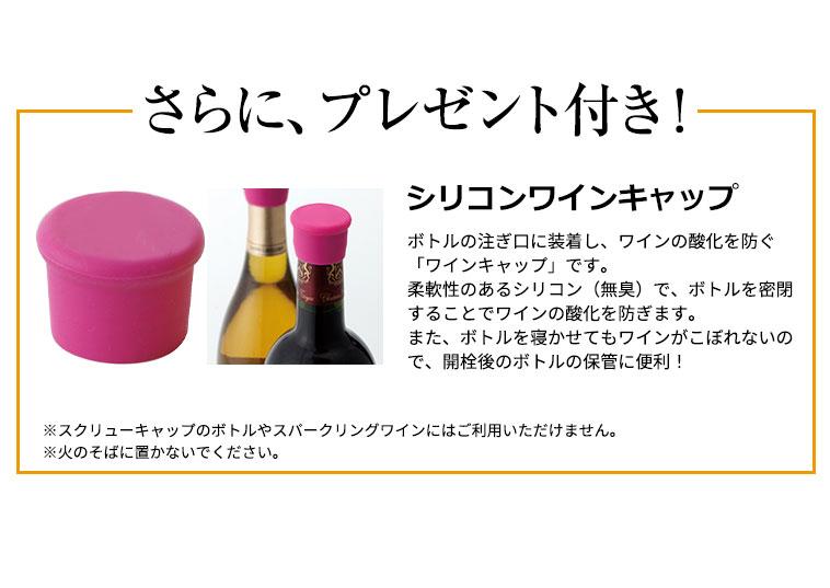 さらに、プレゼント付き!シリコンワインキャップ/ボトルの注ぎ口に装着し、ワインの酸化を防ぐ「ワインキャップ」です。柔軟性のあるシリコン(無臭)で、ボトルを密閉することでワインの酸化を防ぎます。また、ボトルを寝かせてもワインがこぼれないので、開栓後のボトルの保管に便利!