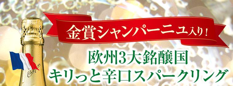 金賞シャンパーニュ入り! 3大銘醸国のスパークリング8本セット 第10弾