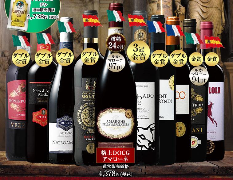 バローロ入り!三大銘醸国の赤ワイン10本&ジン1本セット