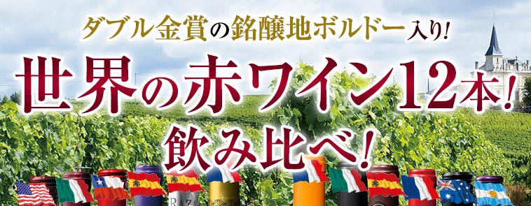 ダブル金賞の銘醸地ボルドー入り!世界の赤ワイン12本!飲み比べ!