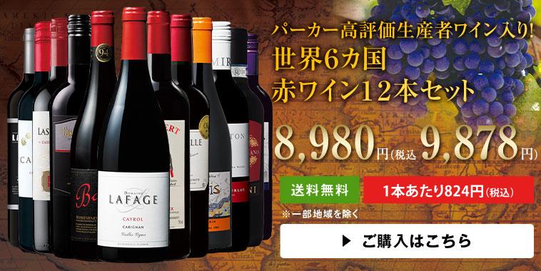 パーカー高評価生産者ワイン入り!世界6カ国赤ワイン12本セット