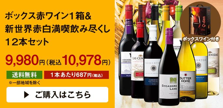 ボックス赤ワイン1箱& 新世界赤白満喫飲み尽くし12本セット