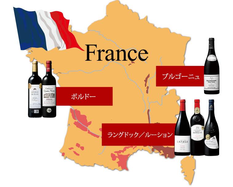 フランス4産地の地図