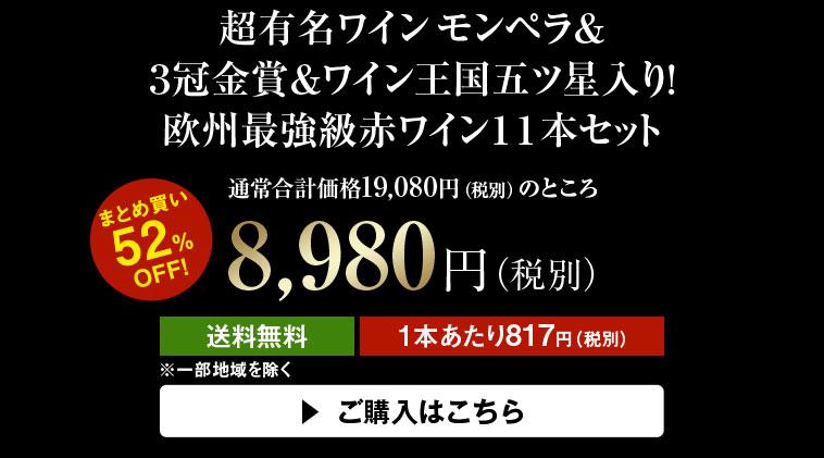 【52%OFF】超有名ワインモンペラ&3冠金賞&ワイン王国五ツ星入り!欧州最強級赤ワイン11本セット