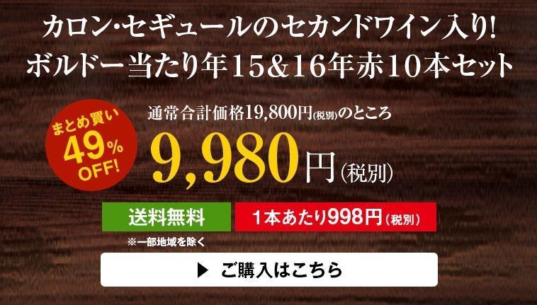 【50%OFF!】カロン・セギュールのセカンドワイン入り!ボルドー当たり年15&16年赤10本セット