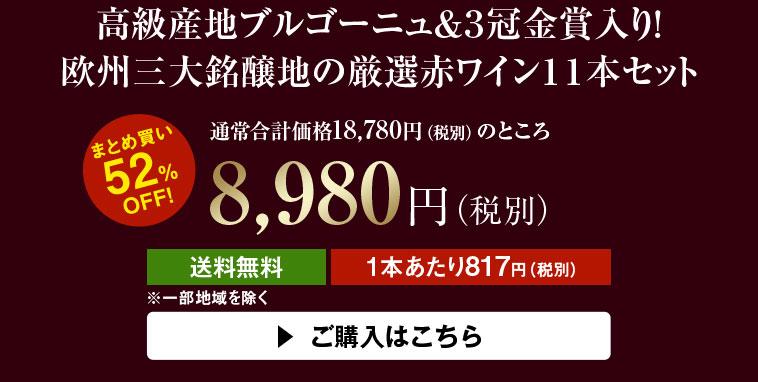 【52%OFF】高級産地ブルゴーニュ&3冠金賞入り!欧州三大銘醸地の厳選赤ワイン11本セット
