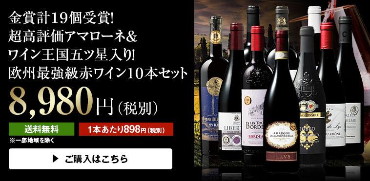 【51%OFF】金賞計19個受賞!超高評価アマローネ&ワイン王国五ツ星入り!欧州最強級赤ワイン10本