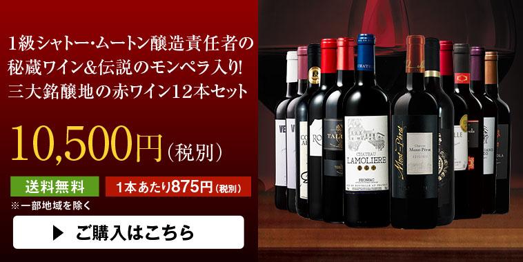 【46%OFF】1級シャトー・ムートン醸造責任者の秘蔵ワイン&モンペラ入り!三大銘醸地の赤12本