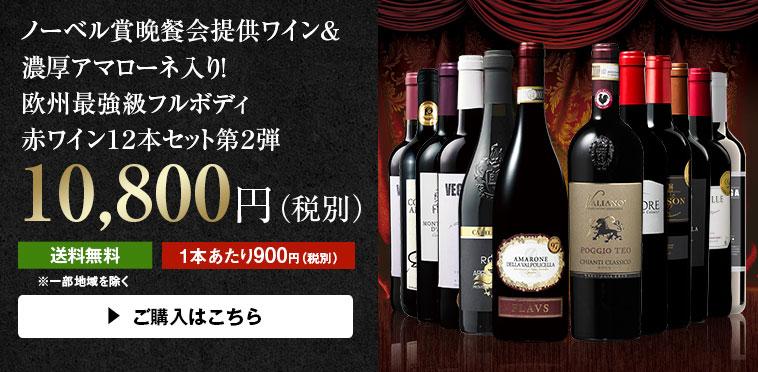 【49%OFF】ノーベル賞晩餐会提供ワイン&アマローネ入り!欧州最強級フルボディ赤ワイン12本 第2弾