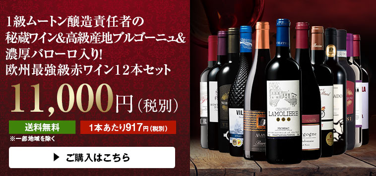 【50%OFF】1級ムートン醸造責任者の秘蔵ワイン&ブルゴーニュ&バローロ入り!欧州最強級赤ワイン12本